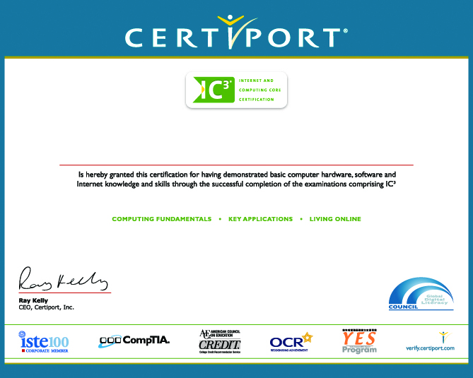 Internet and Computing Core Certification Certificate